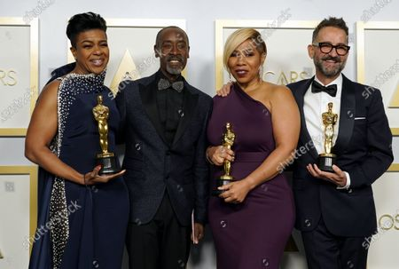Stock Picture of Don Cheadle (2-L) poses with the winners of the award for best makeup and hairstyling for 'Ma Rainey's Black Bottom,'  Mia Neal, Jamika Wilson and Sergio Lopez-Rivera in the press room at the 93rd annual Academy Awards ceremony at Union Station in Los Angeles, California, USA, 25 April 2021. The Oscars are presented for outstanding individual or collective efforts in filmmaking in 24 categories. The Oscars happen two months later than originally planned, due to the impact of the coronavirus COVID-19 pandemic on cinema.
