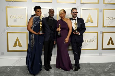 Stock Image of Don Cheadle (2-L) poses with the winners of the award for best makeup and hairstyling for 'Ma Rainey's Black Bottom,'  Mia Neal, Jamika Wilson and Sergio Lopez-Rivera in the press room at the 93rd annual Academy Awards ceremony at Union Station in Los Angeles, California, USA, 25 April 2021. The Oscars are presented for outstanding individual or collective efforts in filmmaking in 24 categories. The Oscars happen two months later than originally planned, due to the impact of the coronavirus COVID-19 pandemic on cinema.