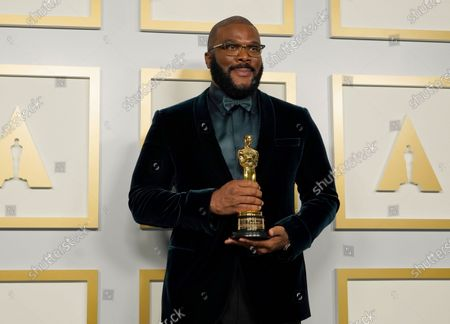 Tyler Perry, winner of the Jean Hersholt Humanitarian Award, poses in the press room at the 93rd annual Academy Awards ceremony at Union Station in Los Angeles, California, USA, 25 April 2021. The Oscars are presented for outstanding individual or collective efforts in filmmaking in 24 categories. The Oscars happen two months later than originally planned, due to the impact of the coronavirus COVID-19 pandemic on cinema.