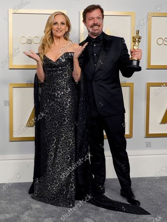 Marlee Matlin (L) poses with James Reed, winner of the award for best documentary feature for 'My Octopus Teacher,'  in the press room at the 93rd annual Academy Awards ceremony at Union Station in Los Angeles, California, USA, 25 April 2021. The Oscars are presented for outstanding individual or collective efforts in filmmaking in 24 categories. The Oscars happen two months later than originally planned, due to the impact of the coronavirus COVID-19 pandemic on cinema.
