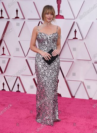 Margot Robbie arrives for the 93rd annual Academy Awards ceremony at Union Station in Los Angeles, California, USA, 25 April 2021. The Oscars are presented for outstanding individual or collective efforts in filmmaking in 24 categories. The Oscars happen two months later than originally planned, due to the impact of the coronavirus COVID-19 pandemic on cinema.