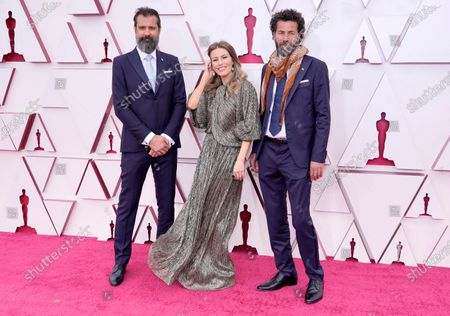Ossama Bawardi, Farah Nabulsi and Saleh Bakri arrive for the 93rd annual Academy Awards ceremony at Union Station in Los Angeles, California, USA, 25 April 2021. The Oscars are presented for outstanding individual or collective efforts in filmmaking in 24 categories. The Oscars happen two months later than originally planned, due to the impact of the coronavirus COVID-19 pandemic on cinema.