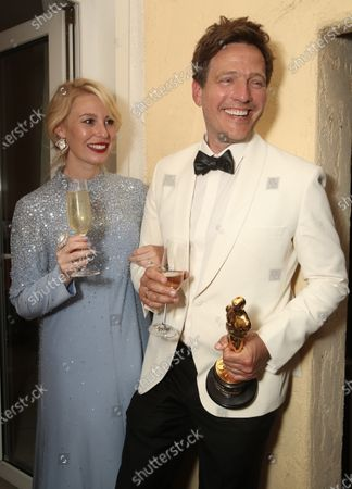 Director Thomas Vinterberg (right) and wife/actress Helene Reingaard Neumann attend the Another Round 93rd Annual Academy Awards Celebration on Sunday, Apr 25 in Los Angeles.