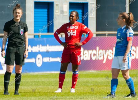 Stock Photo of Danielle Carter (#18 Reading)- looks bemused at the ref