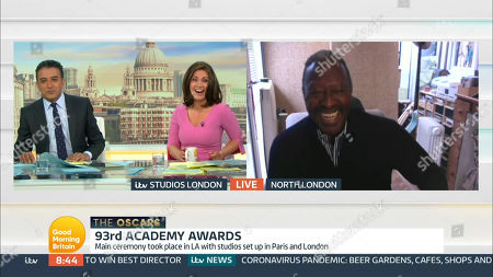 Stock Image of Adil Ray, Susanna Reid and Clarke Peters