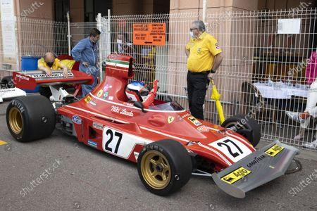 Stock Picture of Departure of the 12th GRAND PRIX DE MONACO HISTORIQUE, Car 27, Jean ALESI, FRA, METHUSALEM RACING, FERRARI, 312B3, 1974, Class 2, (Serie F: 3L Grand Prix cars from 1973 to 1976) Monte-Carlo MONACO - 25/04/2021