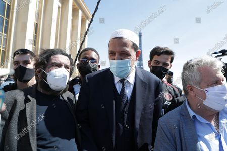 Stock Photo of Marek Halter, Hassen Chalghoumi Gathering on the Trocadero square to challenge the decision of the Court of Cassation to uphold the criminal irresponsibility of the man who killed Sarah Halimi, a sexagenarian of Jewish faith, in 2017 in Paris.