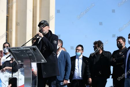 Stock Photo of Gad Elmaleh Gathering on the Trocadero square to challenge the decision of the Court of Cassation to uphold the criminal irresponsibility of the man who killed Sarah Halimi, a sexagenarian of Jewish faith, in 2017 in Paris.