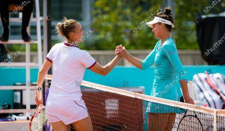 Elena Vesnina & Veronika Kudermetova of Russia of Russia in action during the first round of the 2021 Mutua Madrid Open WTA 1000 tournament