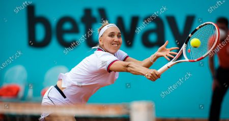 Elena Vesnina of Russia in action during the first round of the 2021 Mutua Madrid Open WTA 1000 tournament