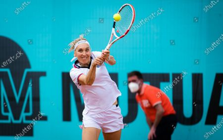 Stock Image of Elena Vesnina of Russia in action during the first round of the 2021 Mutua Madrid Open WTA 1000 tournament
