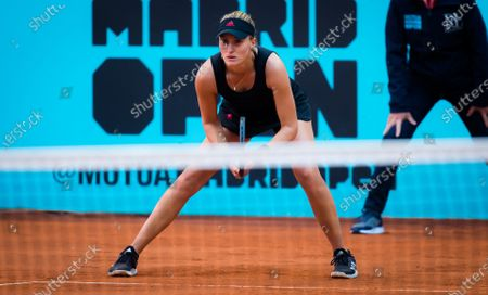 Kristina Mladenovic of France in action durinig her first-round match of the 2021 Mutua Madrid Open WTA 1000 tournament