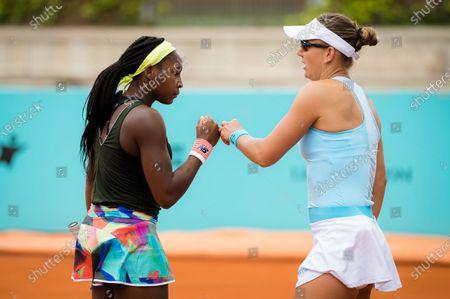Nicole Melichar & Cori Gauff of the United States playing doubles at the 2021 Mutua Madrid Open WTA 1000 tournament