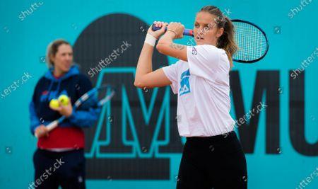 Karolina Pliskova of the Czech Republic during practice at the 2021 Mutua Madrid Open WTA 1000 tournament