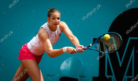 Karolina Pliskova of the Czech Republic in action during the second round of the 2021 Mutua Madrid Open WTA 1000 tournament