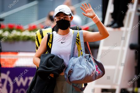 Zheng Saisai of China in action during the second round of the 2021 Mutua Madrid Open WTA 1000 tournament
