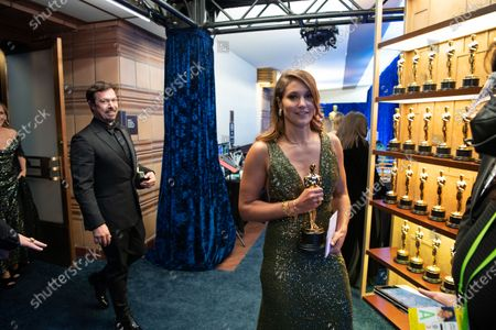 Marlee Matlin, James Reed, and Pippa Erlich backstage with the Oscar® for Documentary Feature during the live ABC Telecast of The 93rd Oscars® at Union Station in Los Angeles, CA on Sunday, April 25, 2021.