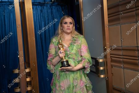 Emerald Fennell accepts the Oscar® for Original Screenplay during the live ABC Telecast of The 93rd Oscars® at Union Station in Los Angeles, CA on Sunday, April 25, 2021.