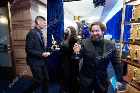 Michael Govier (R) and Will McCormack backstage with the Oscar® for Animated Short Film during the live ABC Telecast of The 93rd Oscars® at Union Station in Los Angeles, CA on Sunday, April 25, 2021.