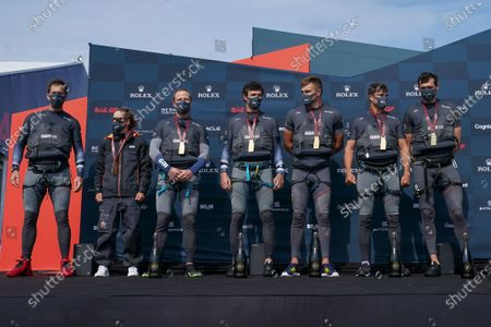 Great Britain SailGP Team presented by INEOS helmed by Sir Ben Ainslie own the podium after winning the final race on Race Day 2 of Bermuda SailGP presented by Hamilton Princess, Event 1 Season 2 in Hamilton, Bermuda. 25 April 2021.