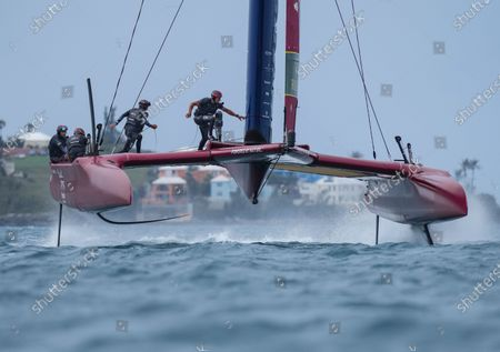Great Britain SailGP Team presented by INEOS helmed by Sir Ben Ainslie in action during the final on Race Day 2 Bermuda SailGP presented by Hamilton Princess, Event 1 Season 2 in Hamilton, Bermuda. 25 April 2021.