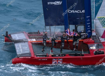 The Great Britain SailGP Team presented by INEOS helmed by Sir Ben Ainslie celebrate their win on board their F50 on Race Day 2. Bermuda SailGP presented by Hamilton Princess, Event 1 Season 2 in Hamilton, Bermuda. 25 April 2021.