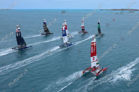 The fleet being led out by Great Britain SailGP Team presented by INEOS helmed by Sir Ben Ainslie during Race Day 2 Bermuda SailGP presented by Hamilton Princess, Event 1 Season 2 in Hamilton, Bermuda. 25 April 2021.