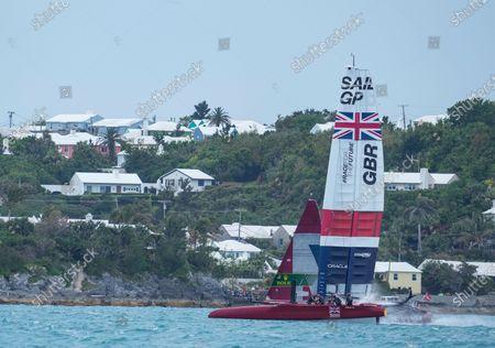 Great Britain SailGP Team presented by INEOS helmed by Sir Ben Ainslie in action on Race Day 2 Bermuda SailGP presented by Hamilton Princess, Event 1 Season 2 in Hamilton, Bermuda. 25 April 2021.