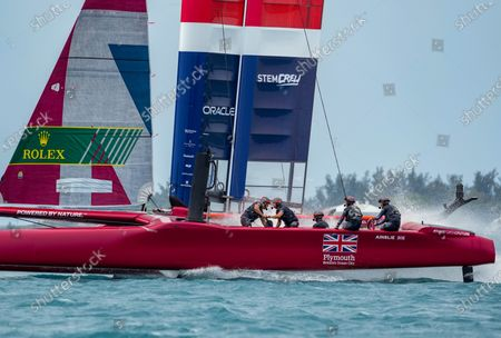 The Great Britain SailGP Team presented by INEOS helmed by Sir Ben Ainslie racing towards the finish line in first place in the final race on Race Day 2. Bermuda SailGP presented by Hamilton Princess, Event 1 Season 2 in Hamilton, Bermuda. 25 April 2021.
