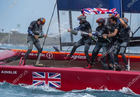 The Great Britain SailGP Team presented by INEOS helmed by Sir Ben Ainslie celebrate their win in the final race on Race Day 2. Bermuda SailGP presented by Hamilton Princess, Event 1 Season 2 in Hamilton, Bermuda. 25 April 2021.