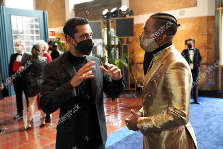 Oscar nominees Riz Ahmed and Leslie Odom Jr. arrive at The 93rd Oscars at Union Station