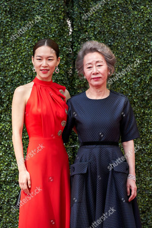 Stock Photo of Oscar nominee Yuh-jung Youn and Han Ye-ri at the live ABC Telecast of The 93rd Oscars at Union Station