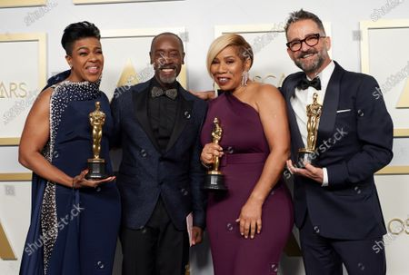 Mia Neal, Don Cheadle, Jamika Wilson, and Sergio Lopez-Rivera pose backstage with the Oscar® for Makeup and Hairstyling  during the live ABC Telecast of The 93rd Oscars® at Union Station in Los Angeles, CA on Sunday, April 25, 2021.