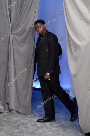 Stock Photo of Daniel Kaluuya backstage with the Oscar® for Best Actor in a Supporting Role during the live ABC Telecast of The 93rd Oscars® at Union Station in Los Angeles, CA on Sunday, April 25, 2021.