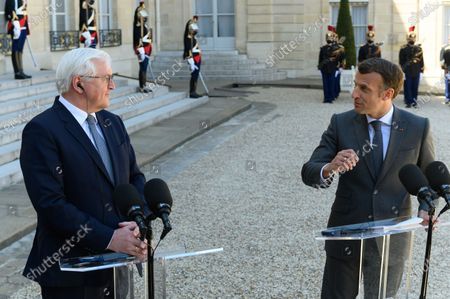 Frank-Walter Steinmeier and Emmanuel Macron.  French President Emmanuel Macron and his wife Brigitte, welcome German President Frank-Walter Steinmeier and his wife Elke Budenbender as they arrive for a working lunch at the Elysee Palace.