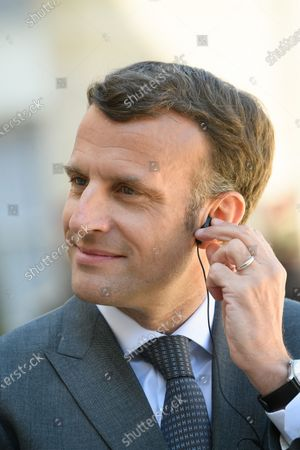 Emmanuel Macron.  French President Emmanuel Macron and his wife Brigitte, welcome German President Frank-Walter Steinmeier and his wife Elke Budenbender as they arrive for a working lunch at the Elysee Palace.