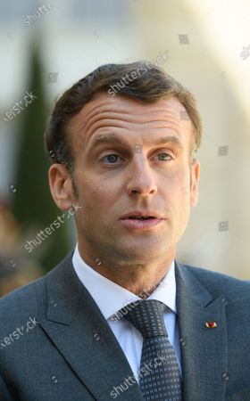 Stock Photo of Emmanuel Macron.  French President Emmanuel Macron and his wife Brigitte, welcome German President Frank-Walter Steinmeier and his wife Elke Budenbender as they arrive for a working lunch at the Elysee Palace.