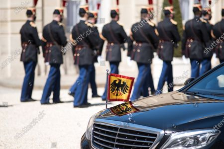 Stock Photo of German Head of State Frank-Walter Steinmeier's car during his bilateral summit with French President Emmanuel Macron at the Elysée Palace in Paris, on April 26, 2021.