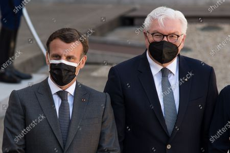 French President Emmanuel Macron and German Head of State Frank-Walter Steinmeier during the State Summit at the Elysée Palace, in Paris, on April 26, 2021.