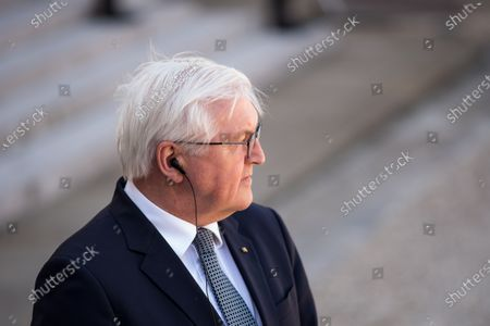 German Head of State Frank-Walter Steinmeier during a press conference in the Elysee court during the France-Germany bilateral summit, together with French President Emmanuel Macron, in Paris, on April 26, 2021.