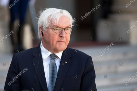 German Head of State Frank-Walter Steinmeier addresses a press conference in the Elysee court during the France-Germany bilateral summit, together with French President Emmanuel Macron, in Paris, on April 26, 2021.