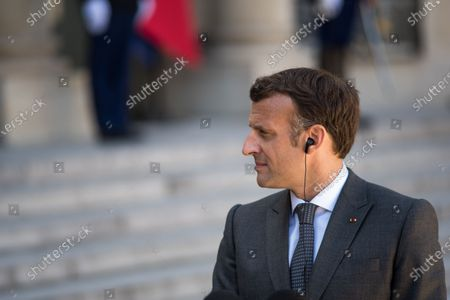 French President Emmanuel Macron during a press conference in the Elysee court at the moment of the France-Germany bilateral summit, together with German Head of State Frank-Walter Steinmeier, in Paris, on April 26, 2021.