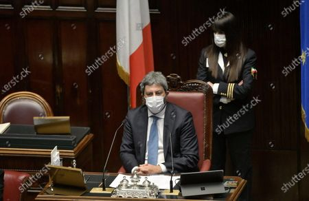 President of the Chamber of the Deputies  Roberto Fico during the communication of  Italian Prime Minister Mario Draghi on Recovery Plan, Rome, 26 April 2021.