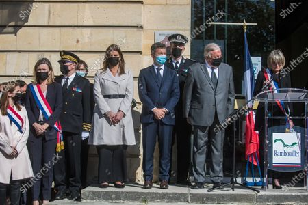 French Interior Minister Gerald Darmanin (C), Junior Minister in charge of Citizenship Marlene Schiappa (4L), Senate President Gerard Larcher (2R) listen the speech of Rambouillet Mayor Veronique Matillon (R) during a ceremony to pay tribute to Stephanie M. a police officer stabbed to death on 23 April in in a police station, at the Rambouillet city hall, near Paris, 26 April 2021. An official tribute is to be paid by the town hall of Rambouillet to Stephanie M. on 26 April. The rally will take place in front of the police station, where she was murdered.