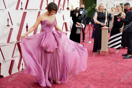 Halle Berry arrives on the red carpet of The 93rd Oscars® at Union Station in Los Angeles, CA on Sunday, April 25, 2021.