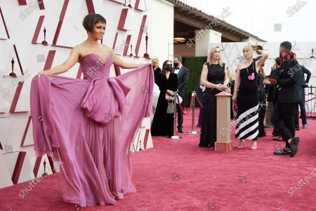 Stock Picture of Halle Berry arrives on the red carpet of The 93rd Oscars® at Union Station in Los Angeles, CA on Sunday, April 25, 2021.