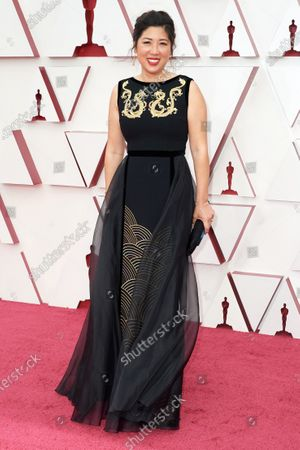 Stock Photo of Gennie Rim on the red carpet of The 93rd Oscars® at Union Station in Los Angeles, CA on Sunday, April 25, 2021.