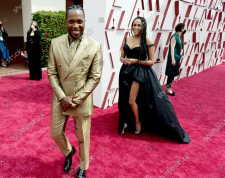 Leslie Odom, Jr. arrives on the red carpet of The 93rd Oscars® at Union Station in Los Angeles, CA on Sunday, April 25, 2021.