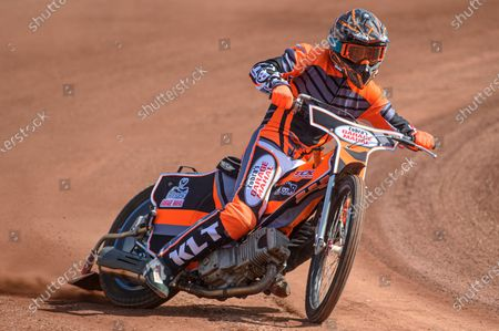 Stock Image of New Belle Vue Colts signing Connor Coles gets some practice laps in at his new home track during the Belle Vue Experience training dayat the National Speedway Stadium, Manchester, England on 25th April 2021.