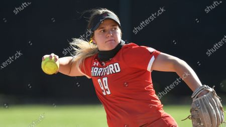 Stock Picture of Hartford's Samantha Nagel (99) fields a ball against University at Albany during an NCAA softball game, in Albany, N.Y